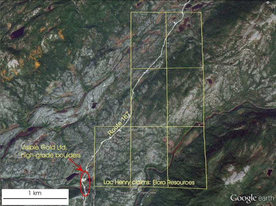 Eloro Reports on Discovery of Polymetallic Boulders by Visible Gold